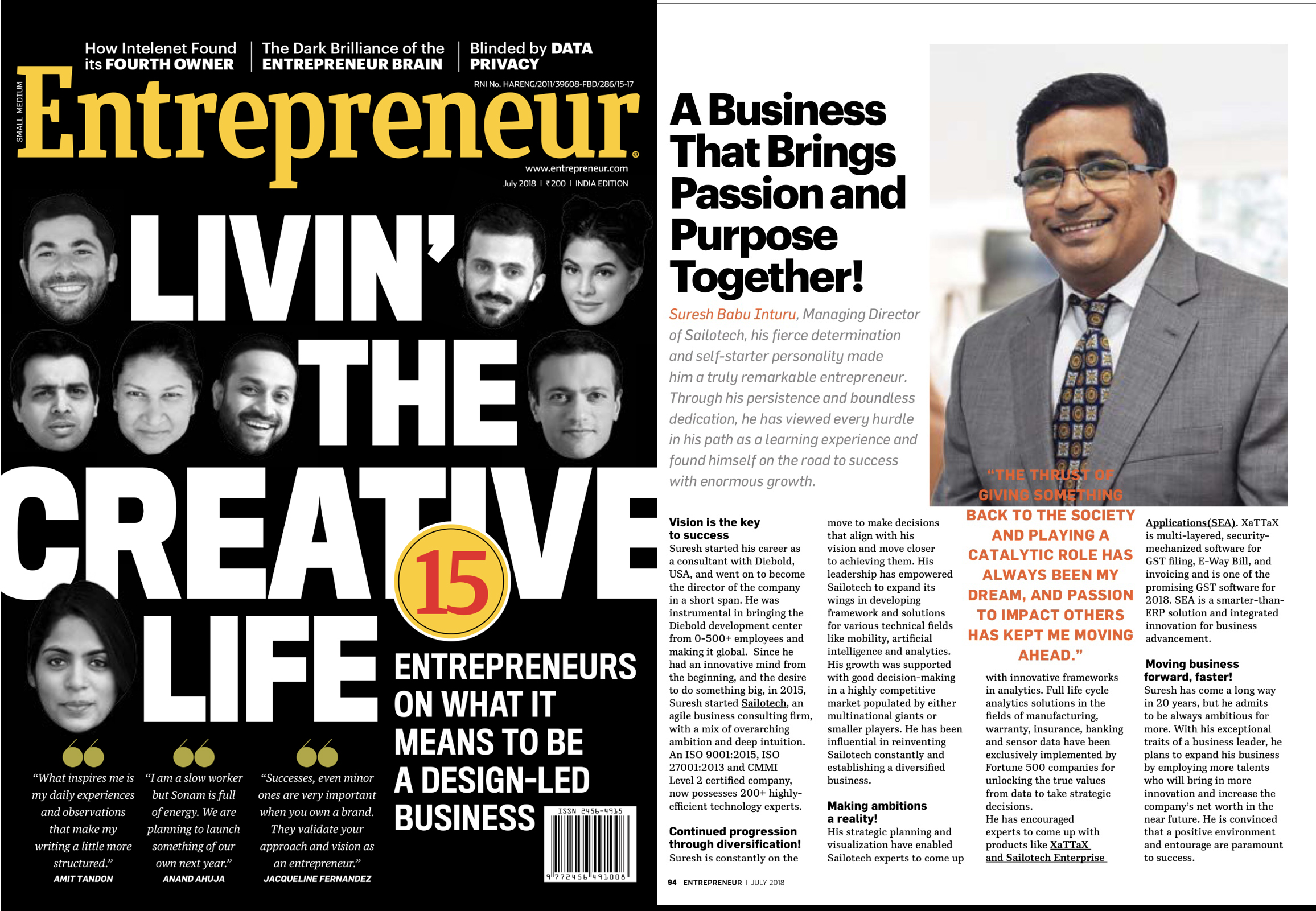 Mr. Suresh Babu, MD of Sailotech featured in 'Entrepreneur'- one of the best business magazines.